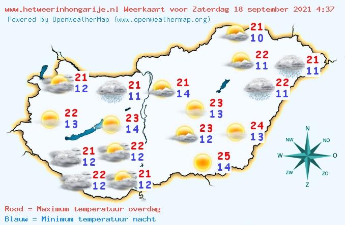 Het weer in Hongarije