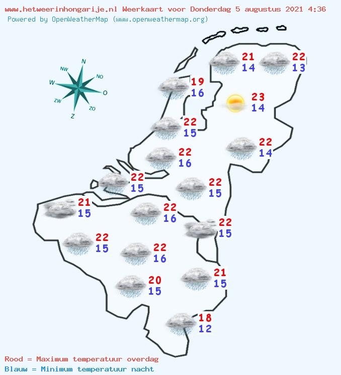 Weerkaart voor Belgie en Nederland van donderdag 2020-10-22